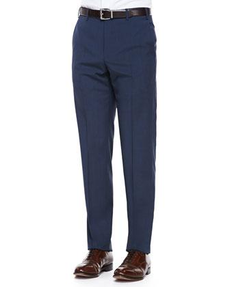 Virgin-Wool Flat-Front Dress Pants, Blue-Brown