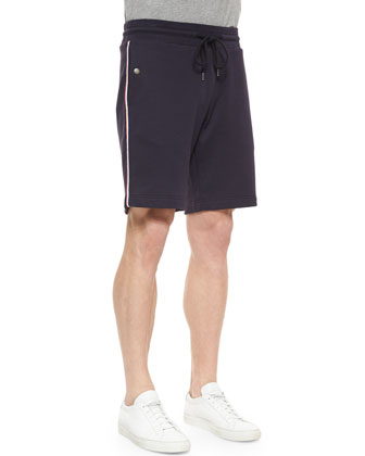 Jersey Drawstring Track Shorts, Navy