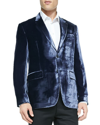 Shiny Velvet Jacket, Light Blue