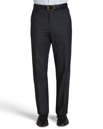 Serge Flat-Front Pants, Charcoal