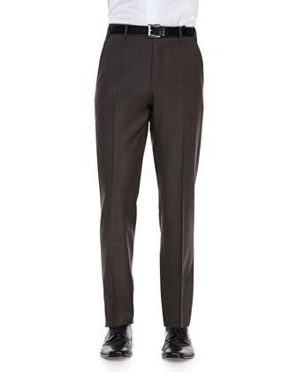 Sharkskin Dress Pants, Brown