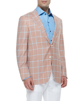 Wool Plaid Sport Coat, Orange Check