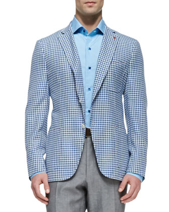 Gingham-Check Blazer, Black/White