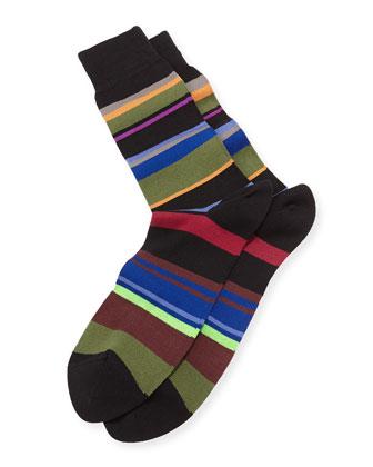 Melange Striped Socks, Black