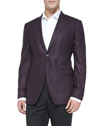 Wool/Silk Two-Button Jacket, Fuchsia