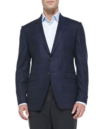 Herringbone Windowpane Jacket, Blue