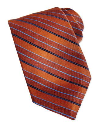 Repp Stripe Silk Tie, Rust