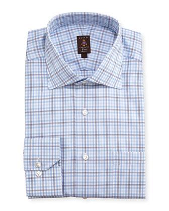 Shadow Windowpane Trim Fit Dress Shirt, Blue