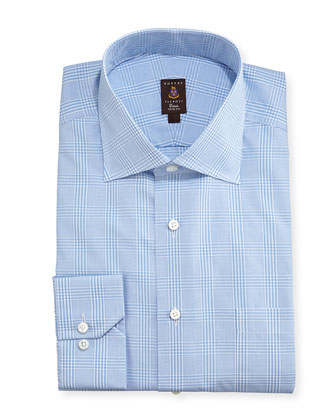 Glen Plaid Twill Trim Fit Dress Shirt, Light Blue
