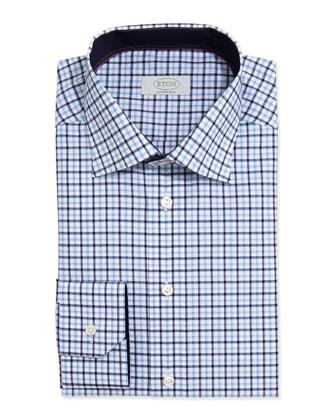 Check-on-White Dress Shirt, Light Blue