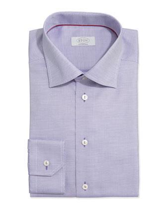 Textured Solid Dress Shirt, Purple