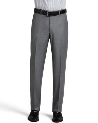 Heathered Wool Trousers, Gray
