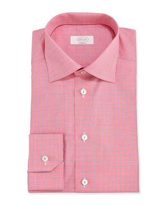 Micro-Houndstooth Twill Dress Shirt, Red/Blue
