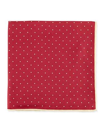 Dot-Print Pocket Square, Navy/Teal
