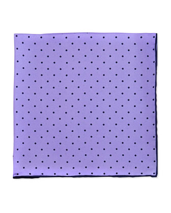 Dot-Print Pocket Square, Lilac/Navy
