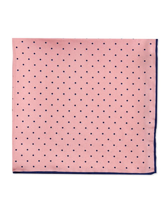 Dot-Print Pocket Square, Pink/Navy
