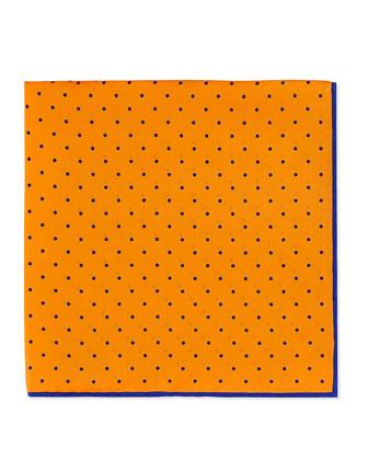 Dot-Print Pocket Square, Orange/Red