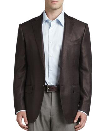 Houndstooth Silk/Wool Sport Coat, Basic Dress Shirt & Heathered Wool Dress ...