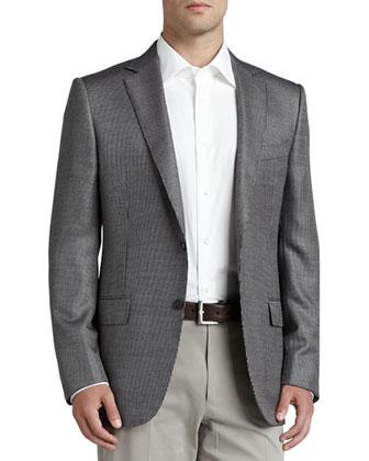 Tic-Weave Sport Coat, Black/White