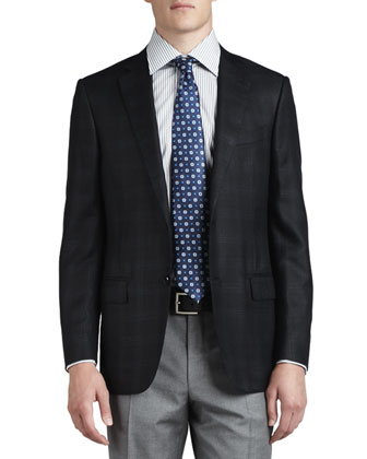 Plaid Two-Button Sport Coat, Black/Blue