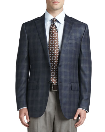 Plaid Wool Sport Coat, Navy/Olive