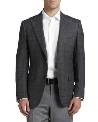 Windowpane-Check Hopsack Sport Coat, Gray