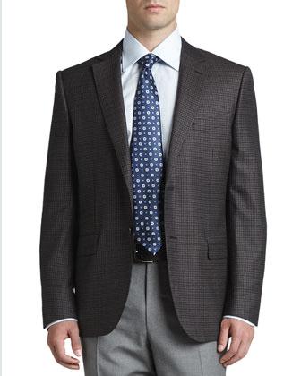 Multi-Check Sport Coat, Brown