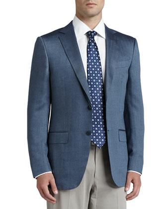 Herringbone Cashmere/Silk Sport Coat, Blue