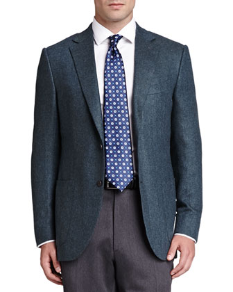Cashmere Herringbone Jacket, Basketweave-Neat Silk Tie, Twill Dress Shirt & ...