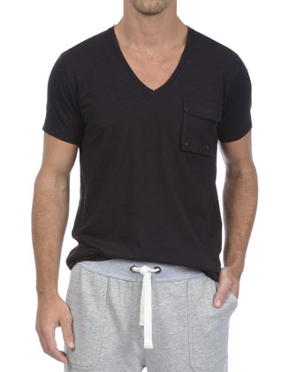 Slub V-Neck Pocket Tee, Black