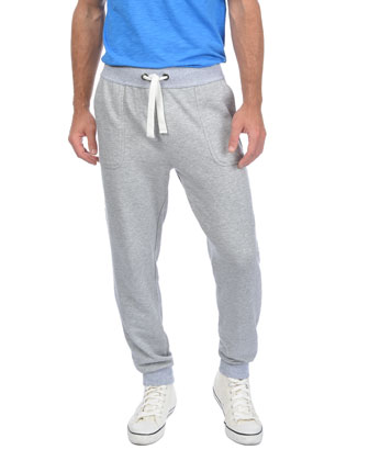 Drop-Inseam Sweatpants, Light Gray
