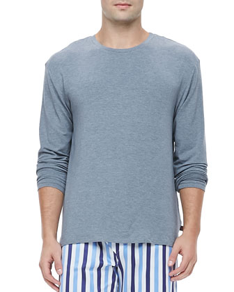 Marlow Jersey Long-Sleeve Lounge Tee, Charcoal