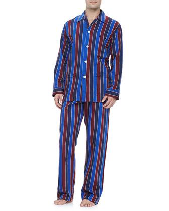 Multi-Stripe Men's Pajamas, Blue/Burgundy