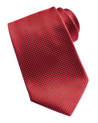 Textured Check & Dot Silk Tie, Red