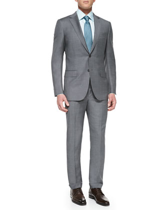 Sharkskin Suit Jacket , Tonal-Herringbone Dress Shirt & Woven Shell-Neat Tie