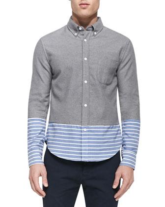 Striped-Bottom Button-Down Shirt, Gray Multi