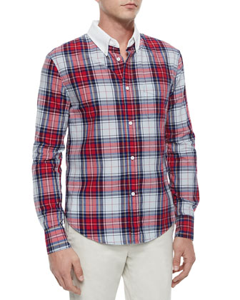 Plaid Button-Down Shirt, Light Blue/Multi