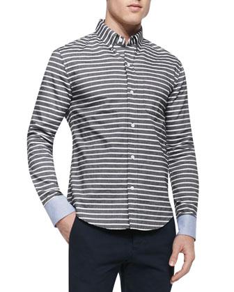 Horizontal-Stripe Button-Down Shirt & Slim-Fit Chino Pants