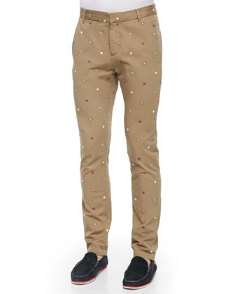 Embroidered-Foulard Chino Pants
