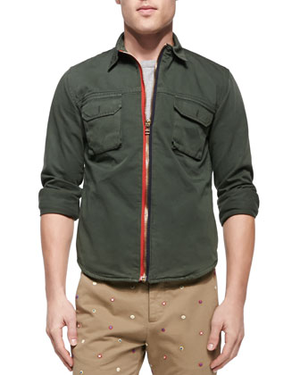 Zip-Front Twill Shirt Jacket, Broken