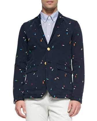 Embroidered Broken-Rainbow Sweater Jacket, Colorblock Button-Down Shirt & ...