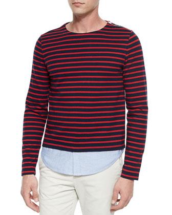 Metal Grommet-Detailed Woven Jacket, Breton-Striped/Oxford Crewneck Shirt & ...