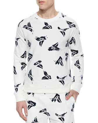 Sailboat Print Crewneck Sweater, White/Multi