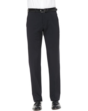Flat-Front Trousers, Navy