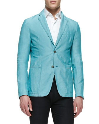 Unlined Linen Soft Jacket, Aqua
