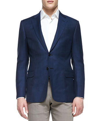 Solid Wool Two-Button Jacket, Bright Blue