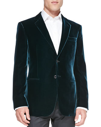 Velvet Two-Button Jacket, Dark Teal