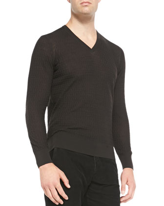 Textured V-Neck Sweater, Charcoal