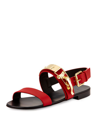 Ski-Buckle Leather Strap Sandal, Red