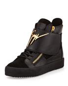 Logo Strap Leather High-Top Sneaker, Black